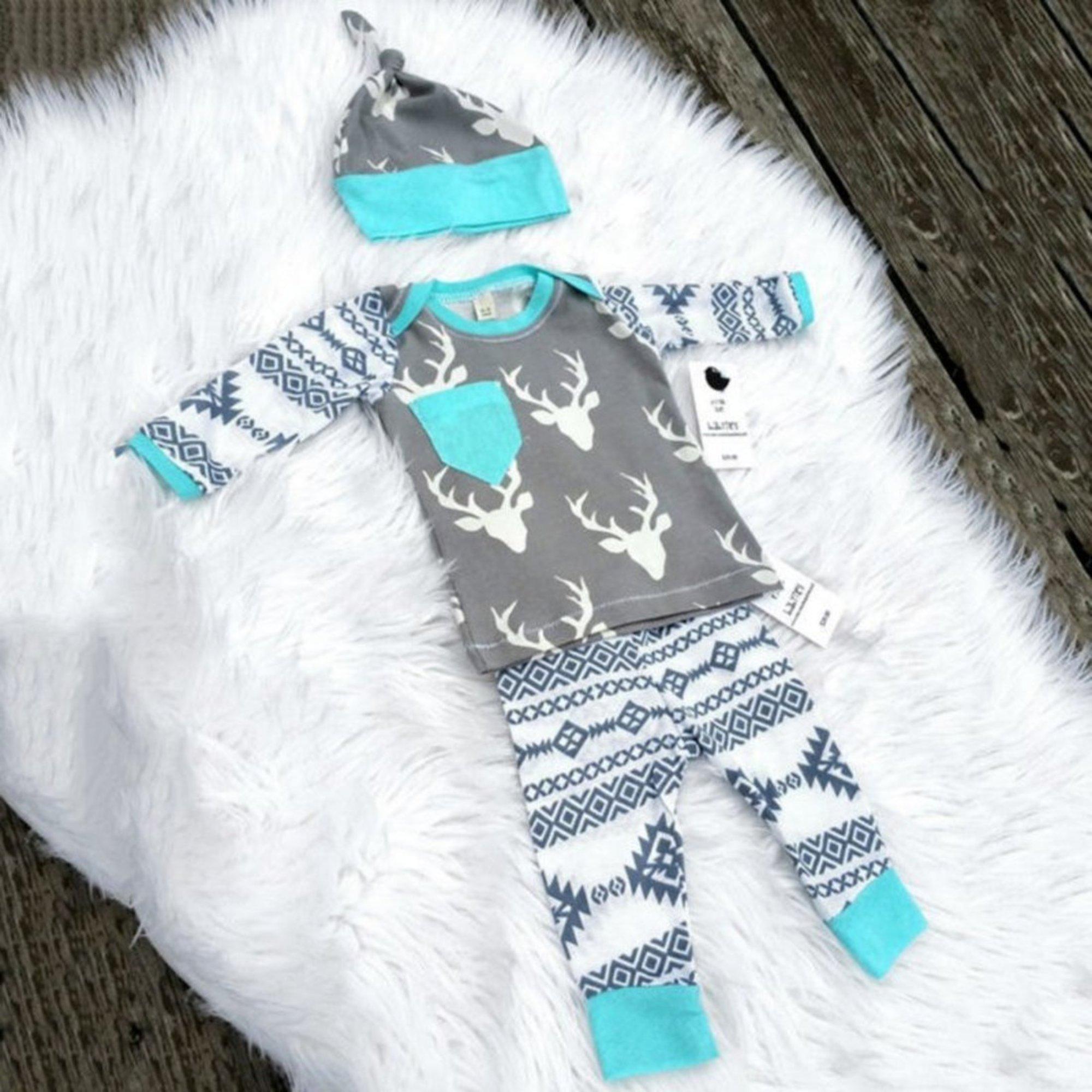 Baby-Outfit 3-teilig mit Winter-Motiven | Hirsch