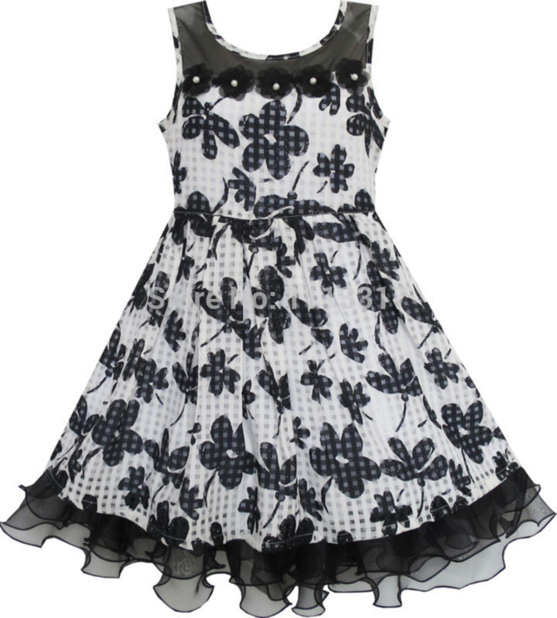 Kinder-Kleid | Chiffonkleid mit Rüschen in Schwarz & Weiß