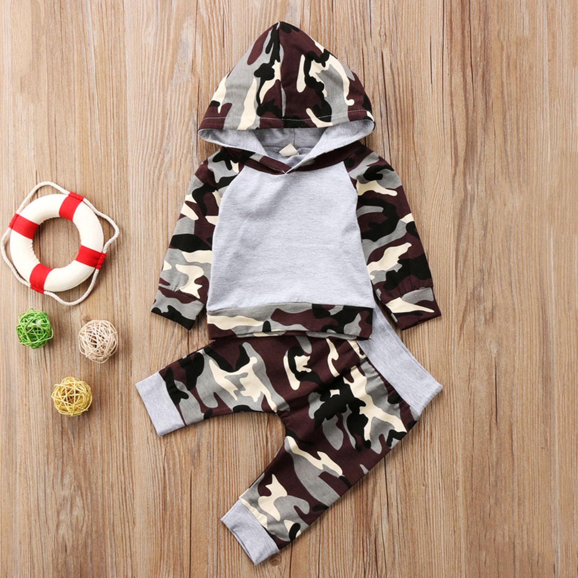 Baby-Outfit | Hoodie & Hose | Grau mit Tarn-Print