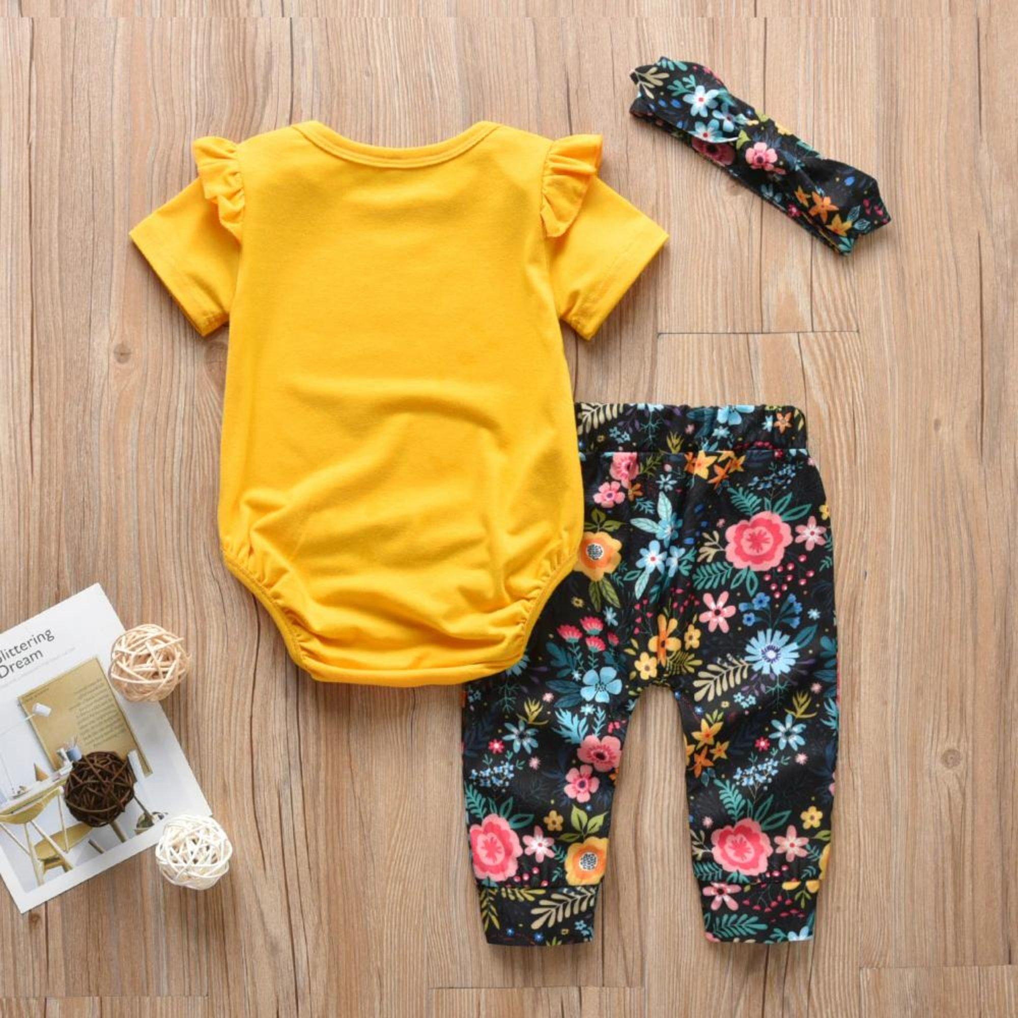 Baby-Set 3-teilig | Gelb / Blumen